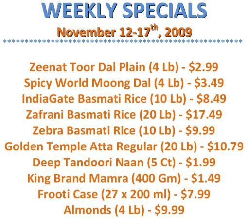 Weekly Specials 11.12.09